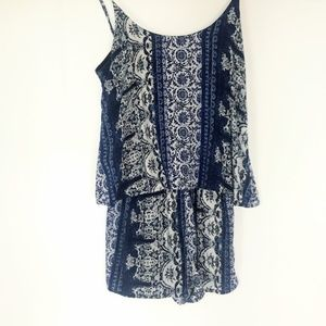 one clothing Dresses - One Clothing Blue Paisley Romper